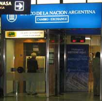 Money exchange at Banco Nacion at Ezeiza Airport Buenos Aires